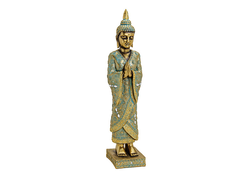Buddha standing on base, polyresin, gold color, 13x55x13cm