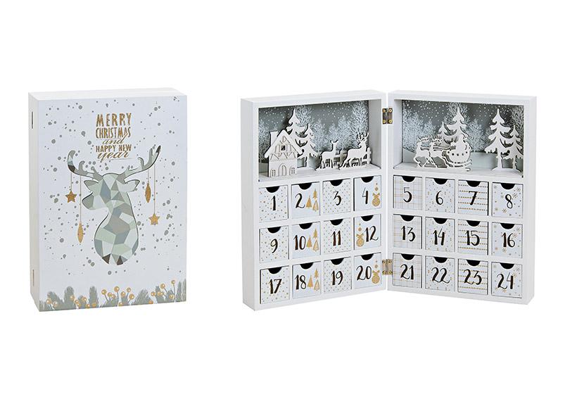 adventní kalendář BOOK 21x30x9 cm, dřevo
