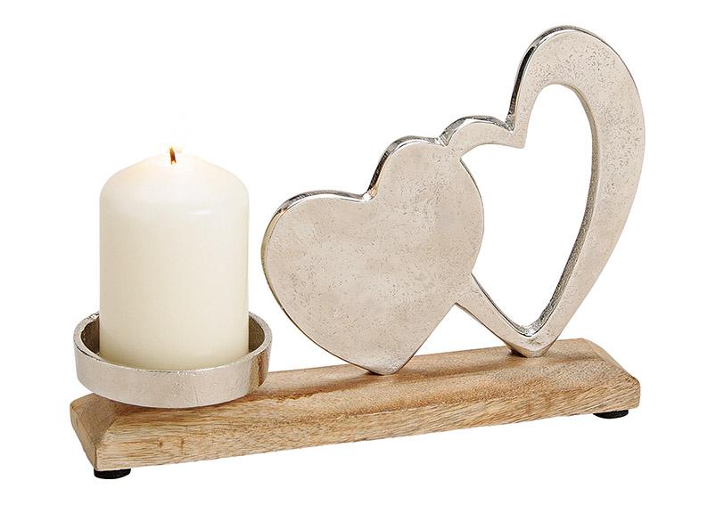svícen HEARTS 23x16x5 cm, kov a mangové dřevo
