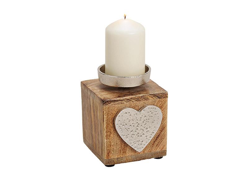 svícen HEART 10x13x10 cm, kov a mangové dřevo