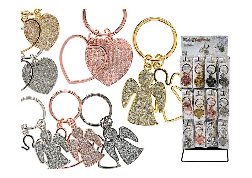 Key chain angle, heart, iron, silver, gold, black, rosegold, asst. 3x8cm
