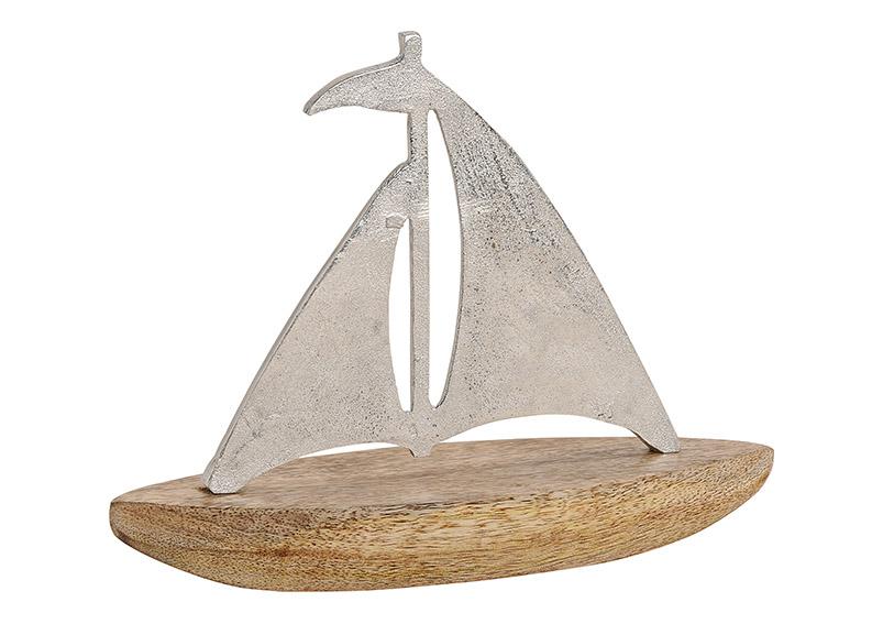plachetnice 27x21x8 cm, mangové dřevo a kov