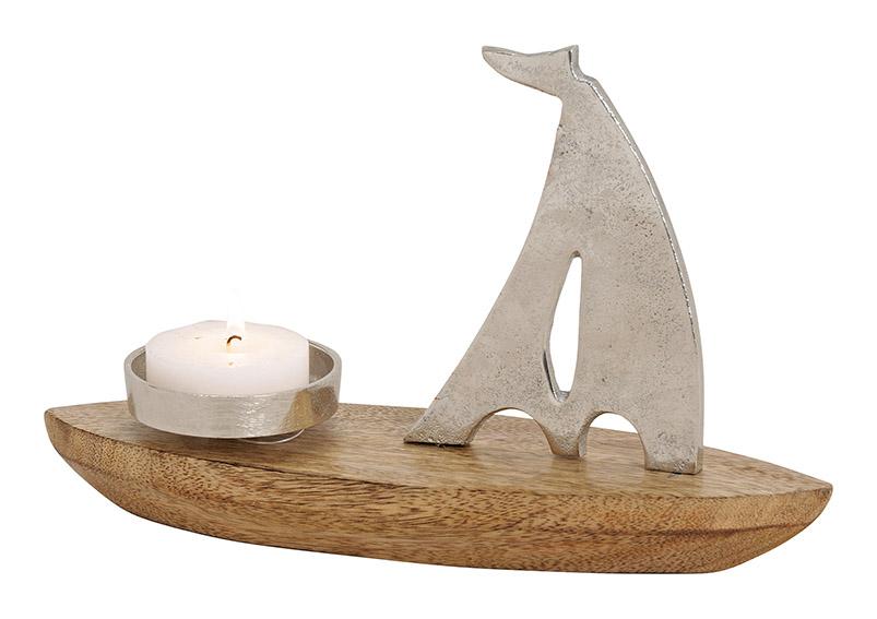 svícen na čajovou svíčku SAILING BOAT 30x20x9 cm, mangové dřevo, sklo a kov