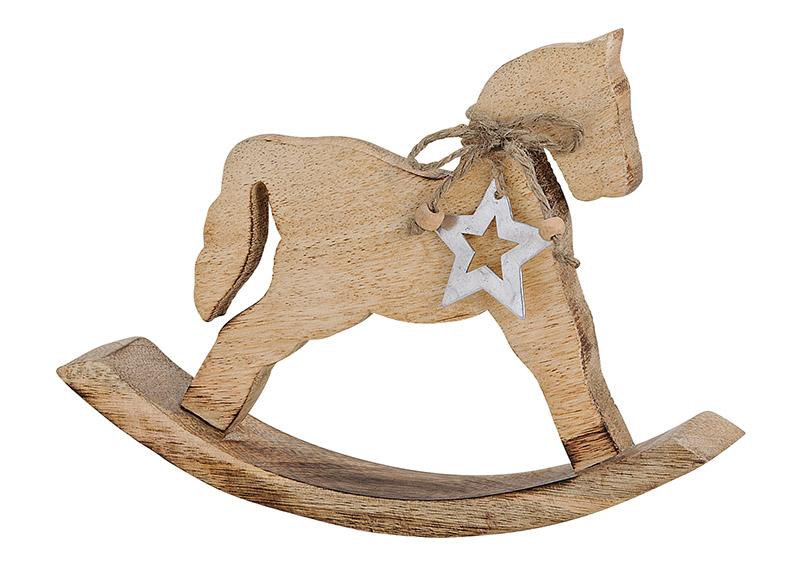 Horse mango wood, with metal star hanger, brown, 24x17x3cm