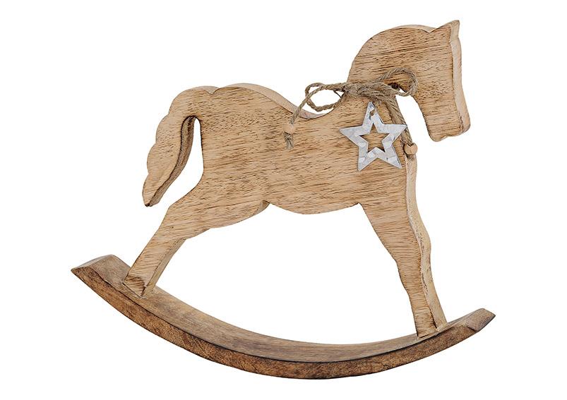 Horse with metal star hanger, mango wood, brown,  31x27x5cm