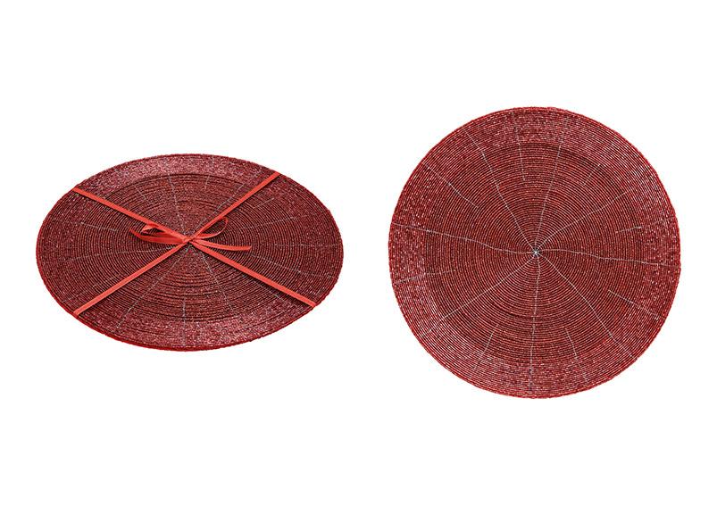 sada dvou plastových prostírání GLASS PEARLS RED 32x32cm