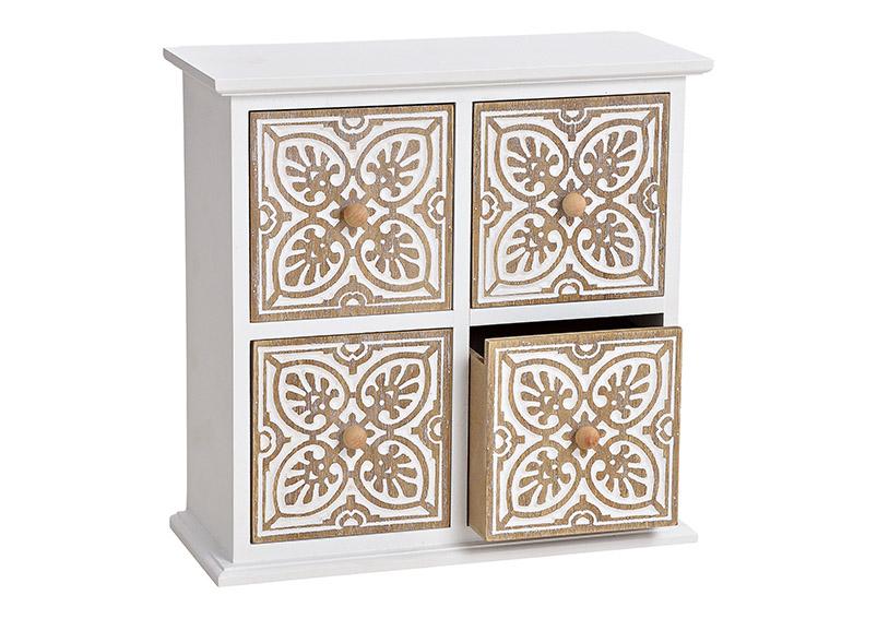 mini skříňka MOROCCO se 4 šuplíky 24x24x10 cm, dřevo