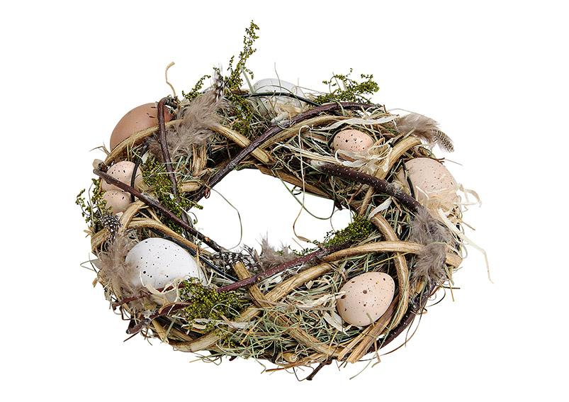 velikonoční věnec s vajíčky 25x25x7 cm, dřevo a plast