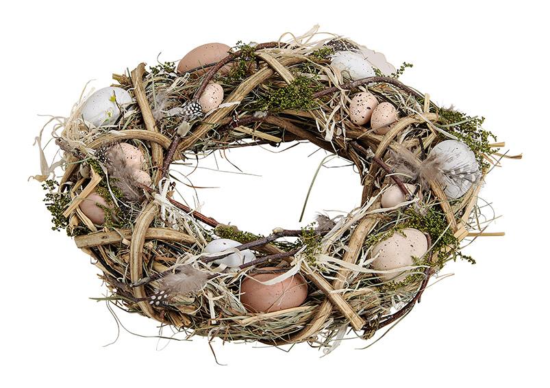 velikonoční věnec s vajíčky 31x31x8 cm, dřevo a plast