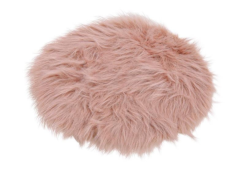 Seat overlay, artificial fur, rose, ⌀  35cm