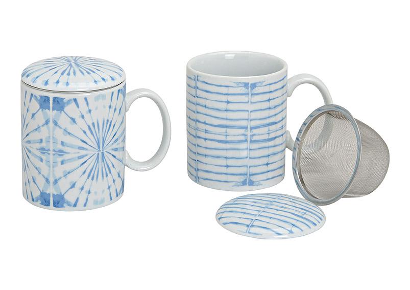 porcelánový hrníček se sítkem a pokličkou BLUE 300 ml 10 cm - 2 druhy