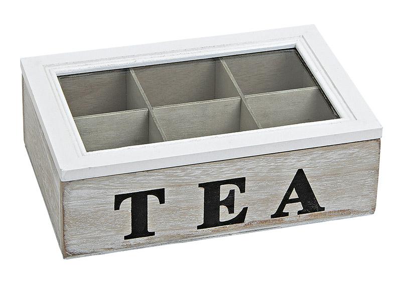 krabička na čajové sáčky TEA 24x16x7 cm, dřevo a sklo