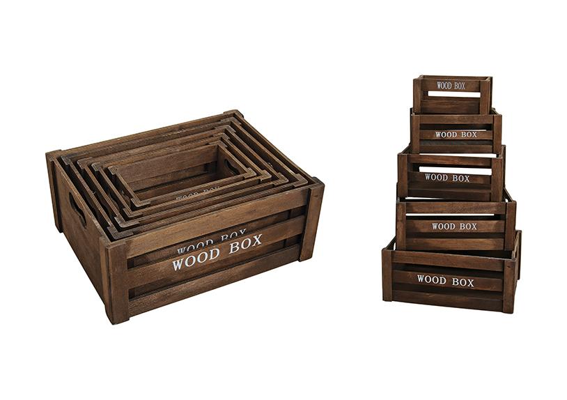 sada pěti dřevěných bedýnek 37x28x15 cm a různé velikosti