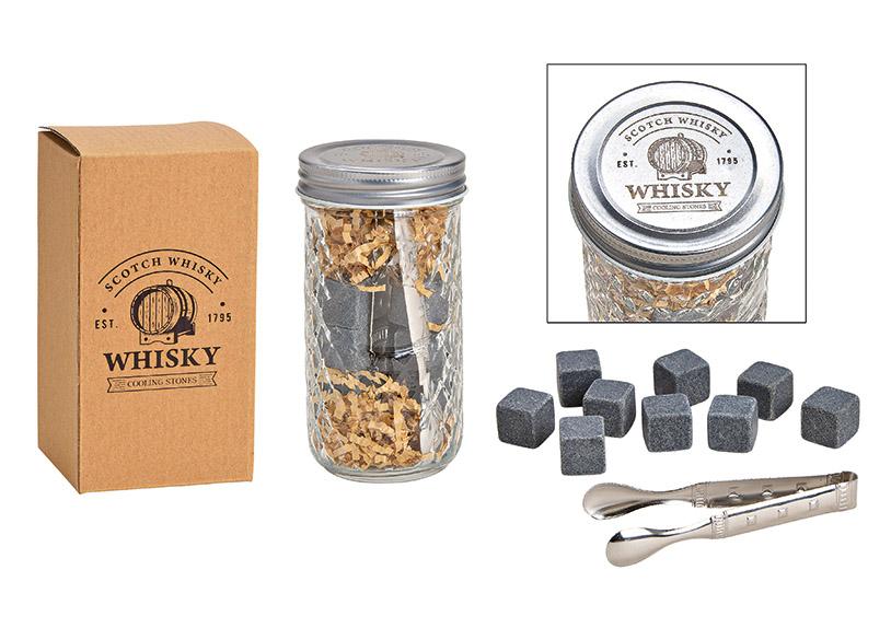 whisky sada chladících kamenů s kleštěmi v kartonové krabičce