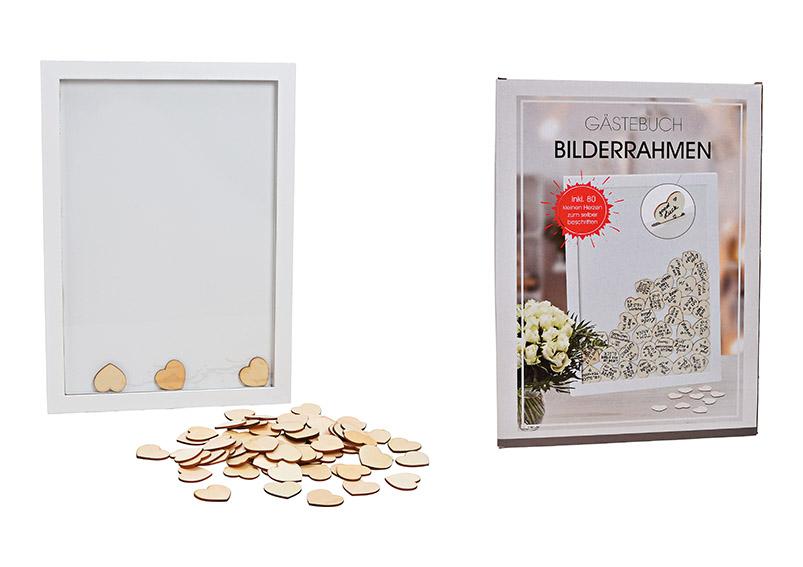 kniha hostů v rámečku s 80 srdíčky pro psaní jmen 30x42x2 cm, dřevo a sklo
