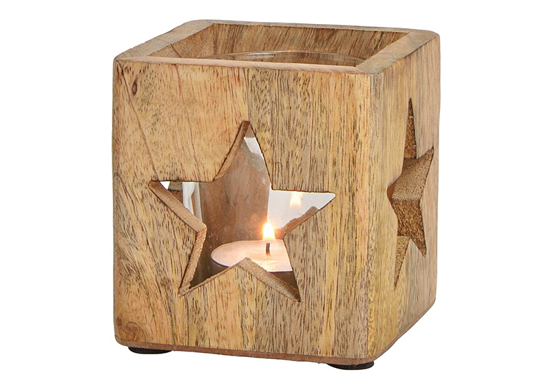 Windlight star decor, mangowood, glass, brown, 9x9x9cm