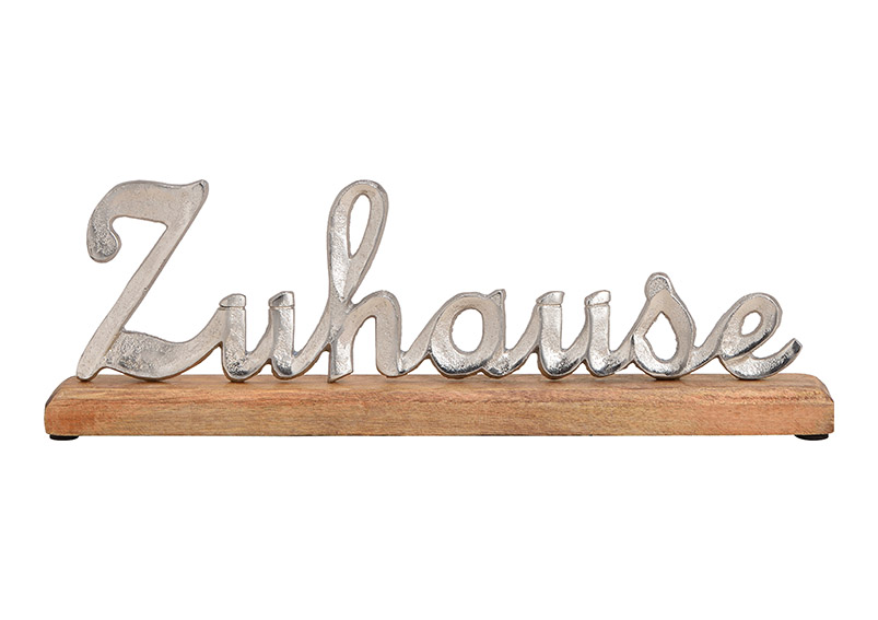 Wordings, Zuhause, metal mangowood, silver, 40x14x5cm