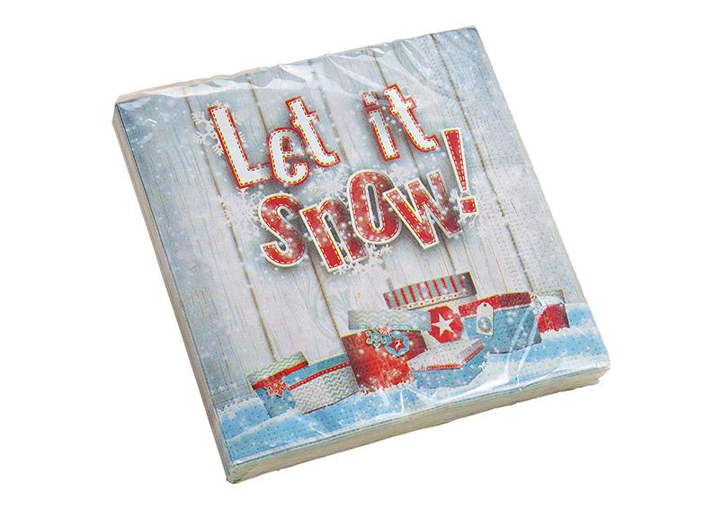 papírové ubrousky třívrstvé LET IT SNOW 33x33 cm (20 kusů v balení)