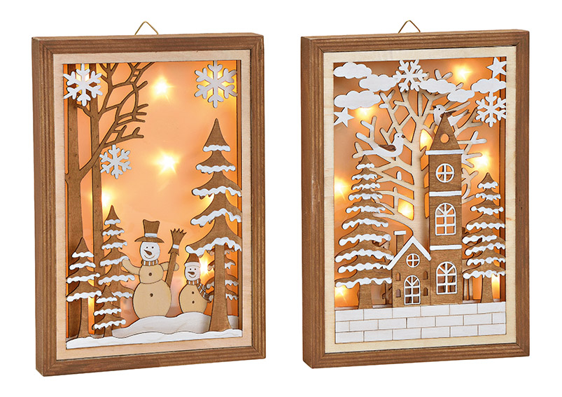 Winter scene hanger with LED wood 2-ass, 19x27x3cm