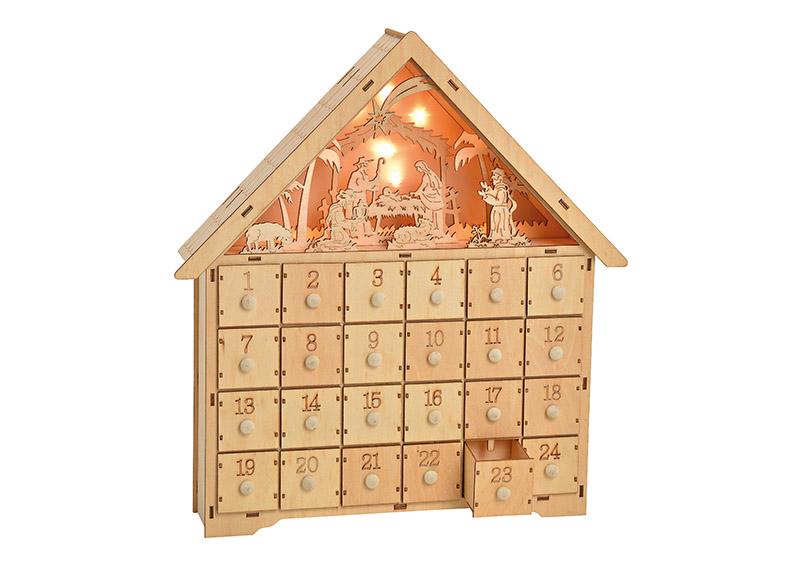 adventní kalendář s LED osvětlením 34x42x8 cm, dřevo