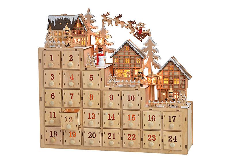adventní kalendář s LED osvětlením 38x34x10 cm, dřevo