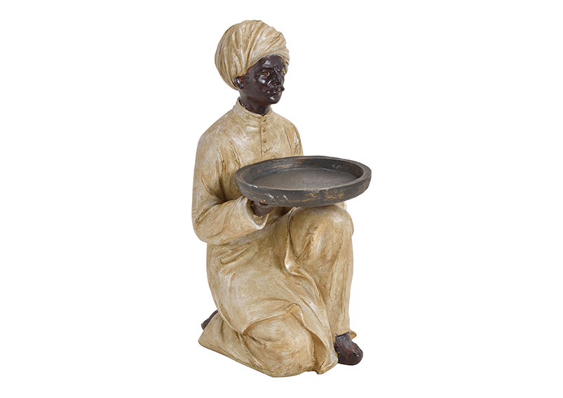 servant with bowl poly black, 10x25x14cm