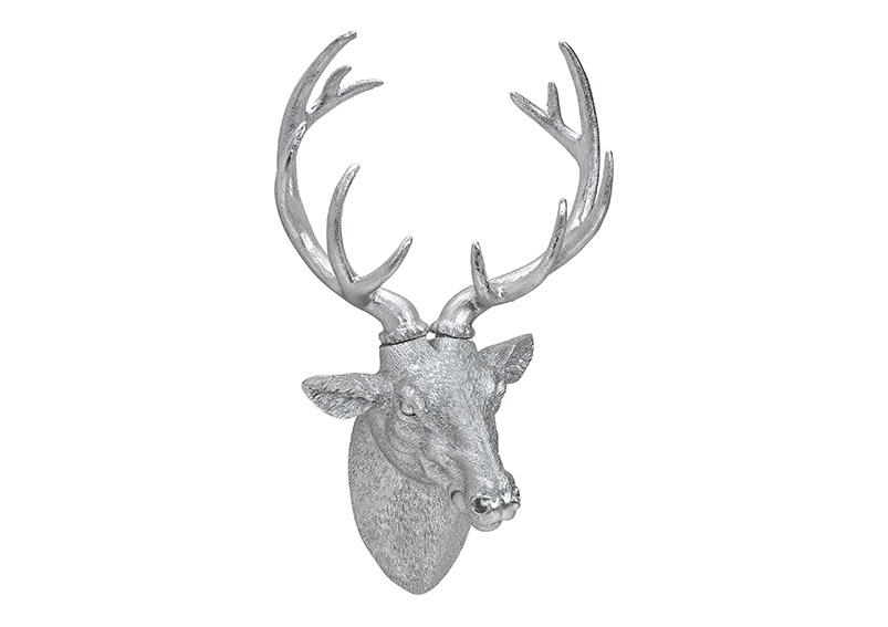 hlava jelena SILVER 30x47x17 cm, polyresin