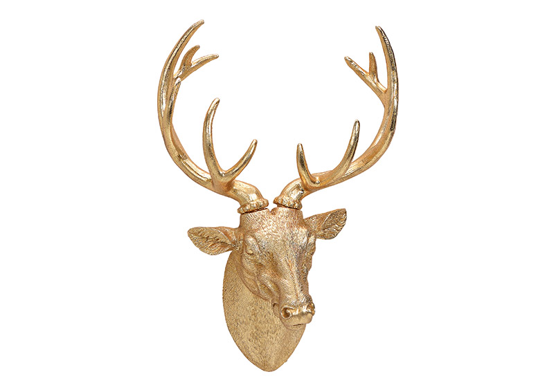 hlava jelena GOLD 30x47x17 cm, polyresin