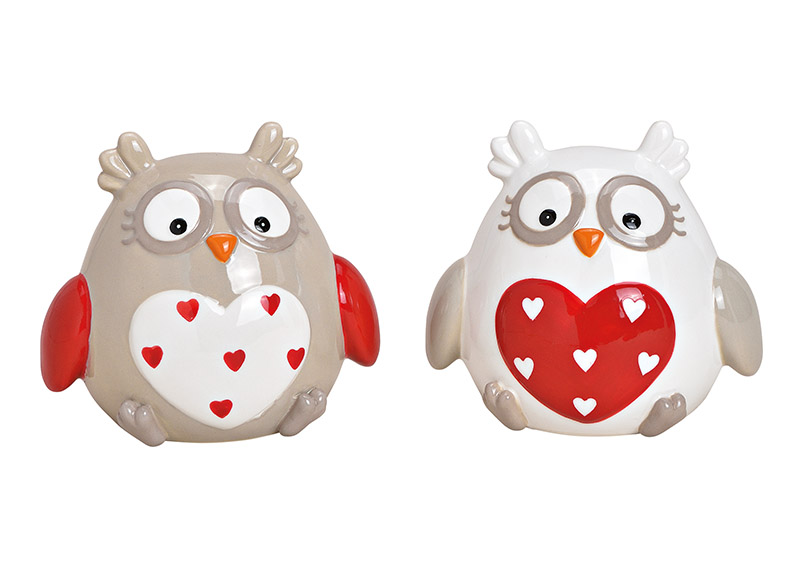 sovička HEART 12x10x9 cm, keramika - 2 druhy