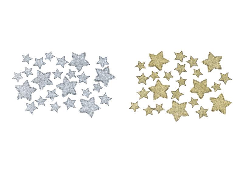 sada 24 kusů papírových hvězd na ozdobu stolu Ø2-4 cm - 2 druhy