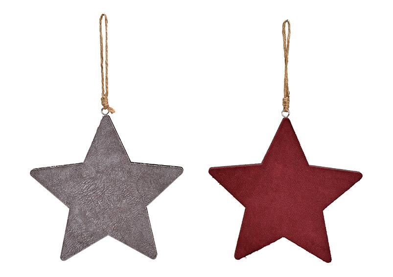 dřevěná hvězda VELVET 20x20x1 cm, dřevo a textil - 2 druhy