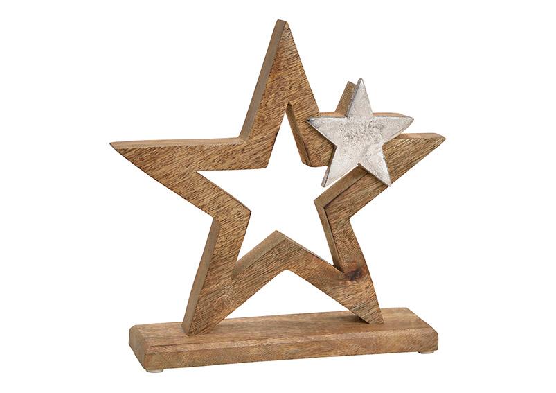 hvězda z mangového dřeva s kovovou hvězdičkou na podstavci 24x24x6 cm