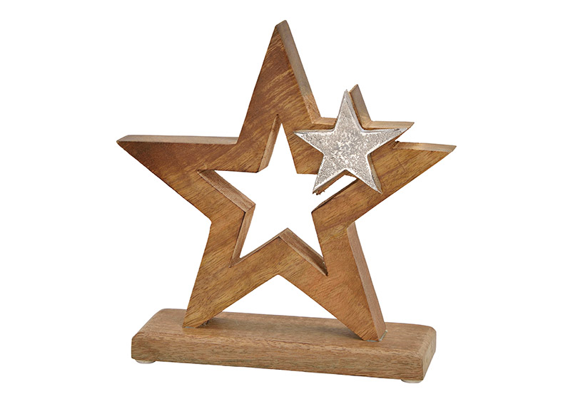 hvězda z mangového dřeva s kovovou hvězdičkou na podstavci 20x21x6 cm