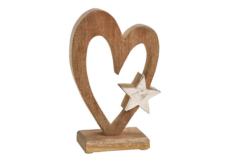srdíčko z mangového dřeva s kovovou hvězdou na podstavci 13x22x6 cm