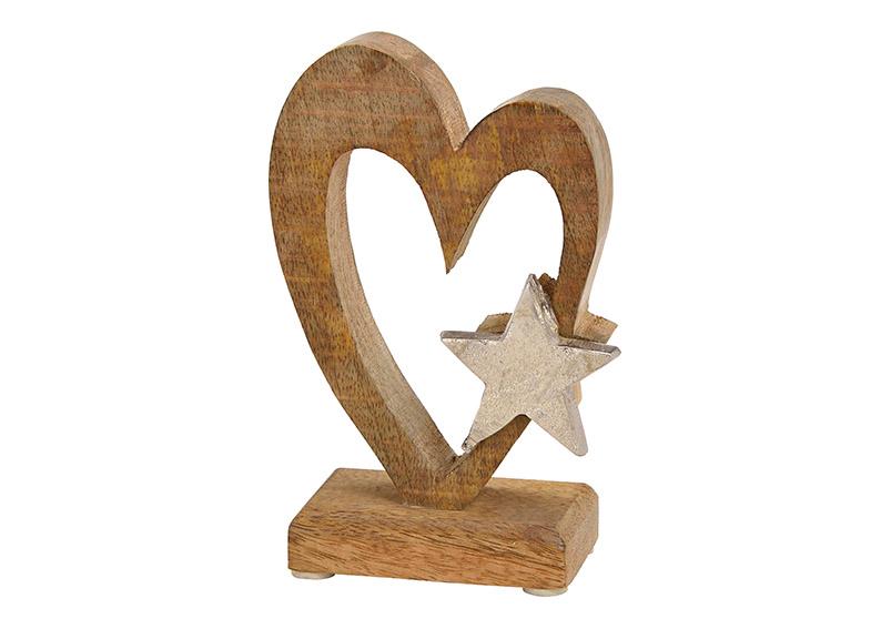 srdíčko z mangového dřeva s kovovou hvězdou na podstavci 10x15x6 cm