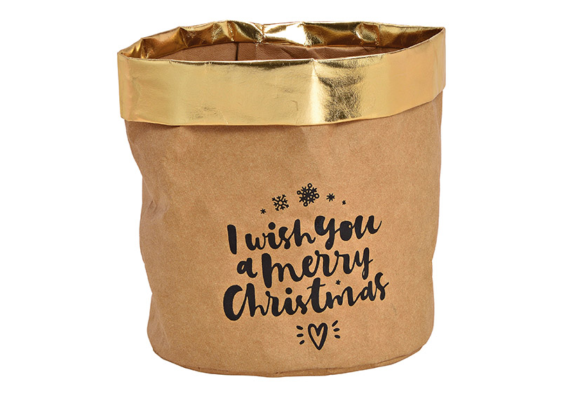 Paper bag, I wish you a merry Christmas, brown gold, 16x16x16cm