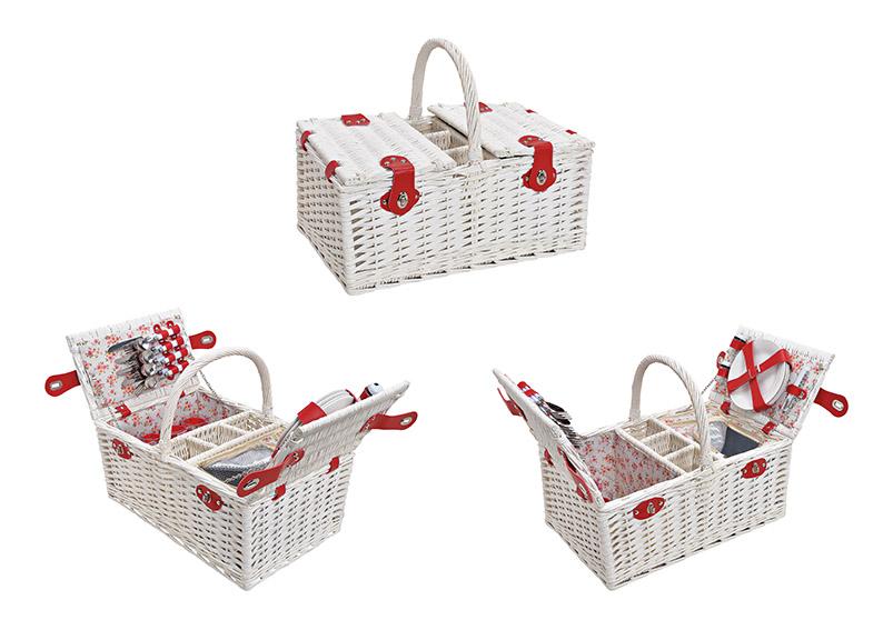 Picknick basket for 4 person, white, set of 24pcs, 50x39x32cm