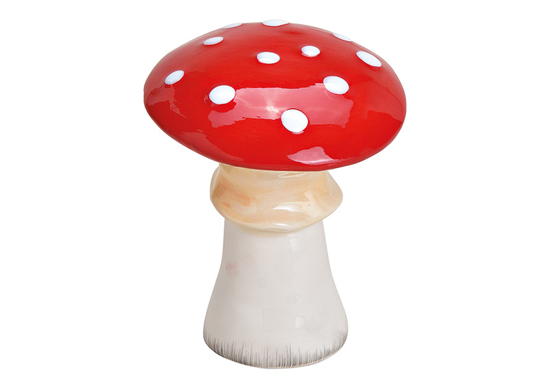 Mushroom, cearmic, red, white, 9x12x9cm