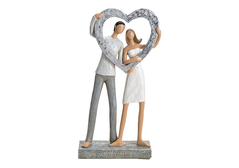 zamilovaný pár se srdcem 15x27x6 cm, polyresin