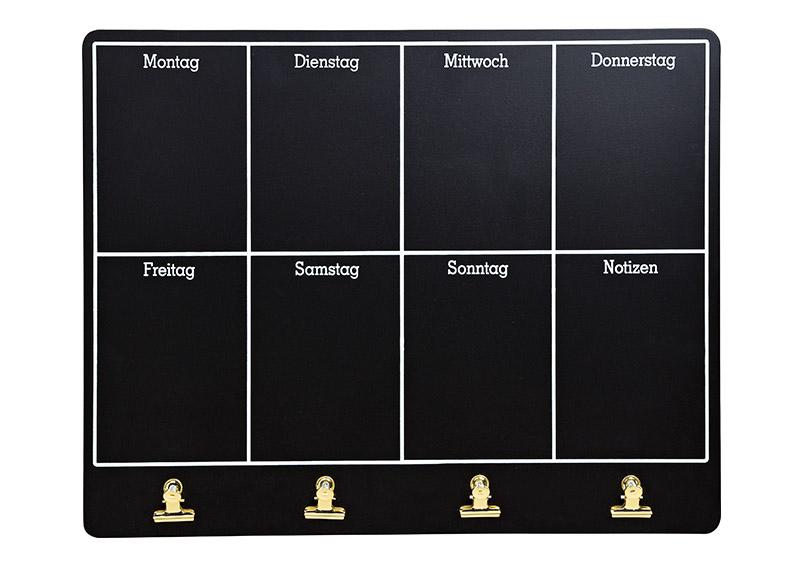 nástěnná dřevěná tabule s klipy na poznámky WEEK PLANER 48x38x3 cm