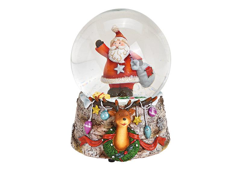 music box sněžítko SANTA 10x14x11 cm, polyresin a sklo