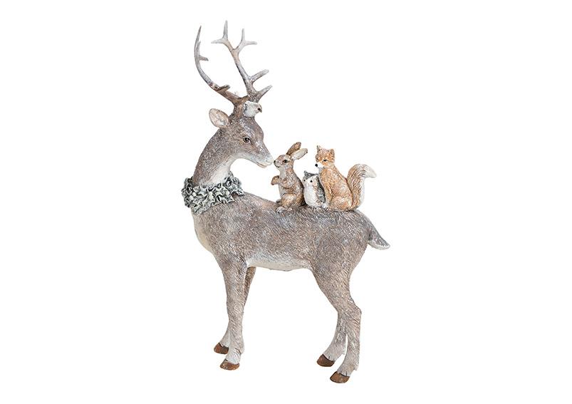 jelen se zvířátky 16x26x5 cm, polyresin