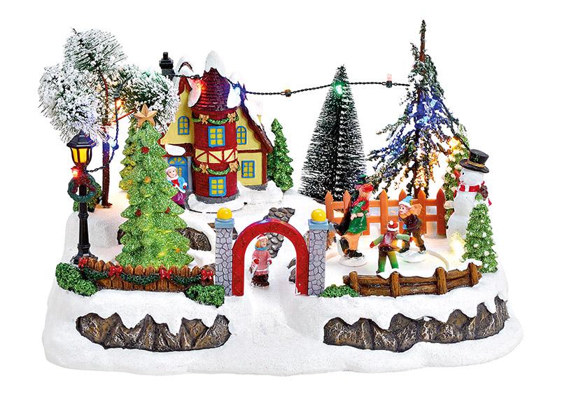 zimní vesnická scéna s osvětlením a hudbou 31x19x20 cm, polyresin