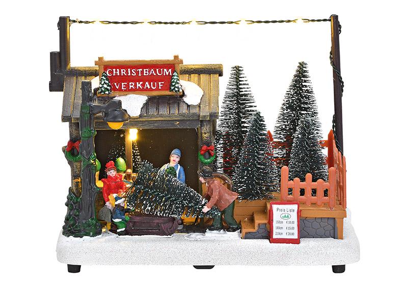 prodej vánočních stromků s osvětlením 18x14x10 cm, polyresin