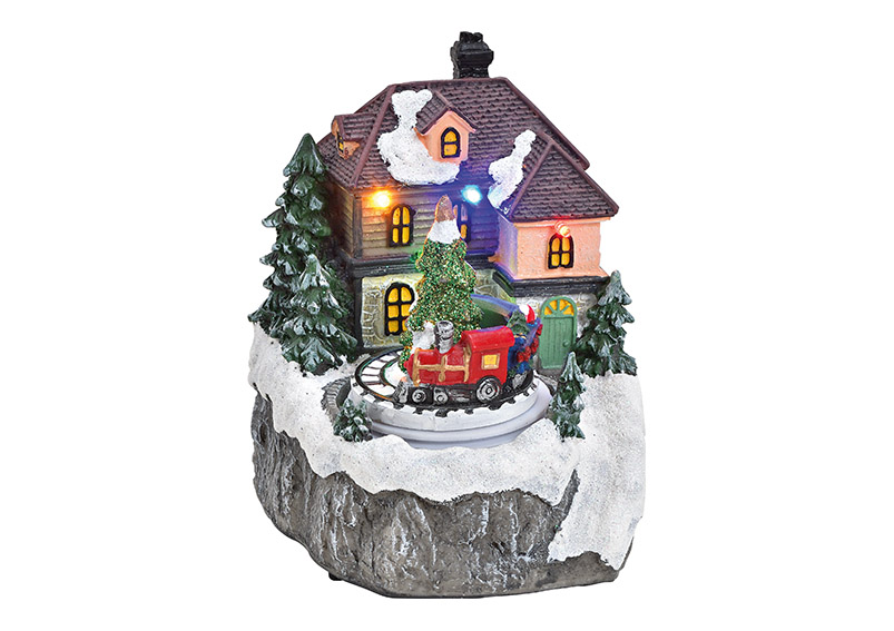 zimní vesnická scéna s osvětlením 12x14x11 cm, polyresin