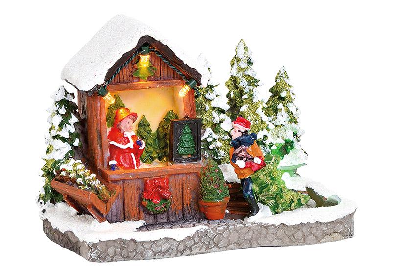 stánek s vánočními stromky s osvětlením 10x11x7 cm, polyresin