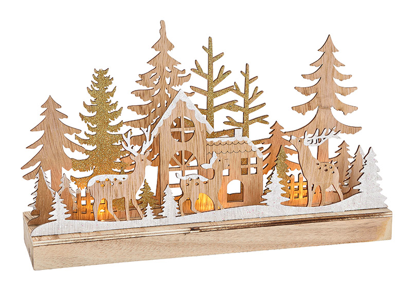 Winter scenery, winter forest with LED light, wood, beige, 30x18x8cm