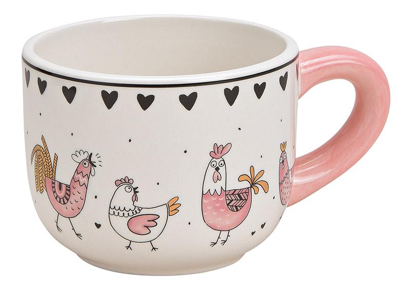 Mug Chicken decor ceramic pink/rose, gold 15x8x11cm 500ml