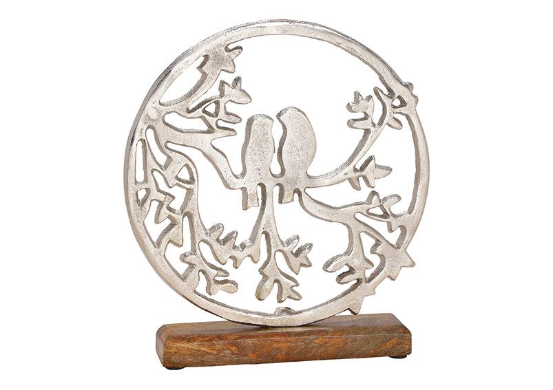 zamilovaní ptáčci v kruhovém rámu na podstavci 25x27x5 cm, kov a mangové dřevo