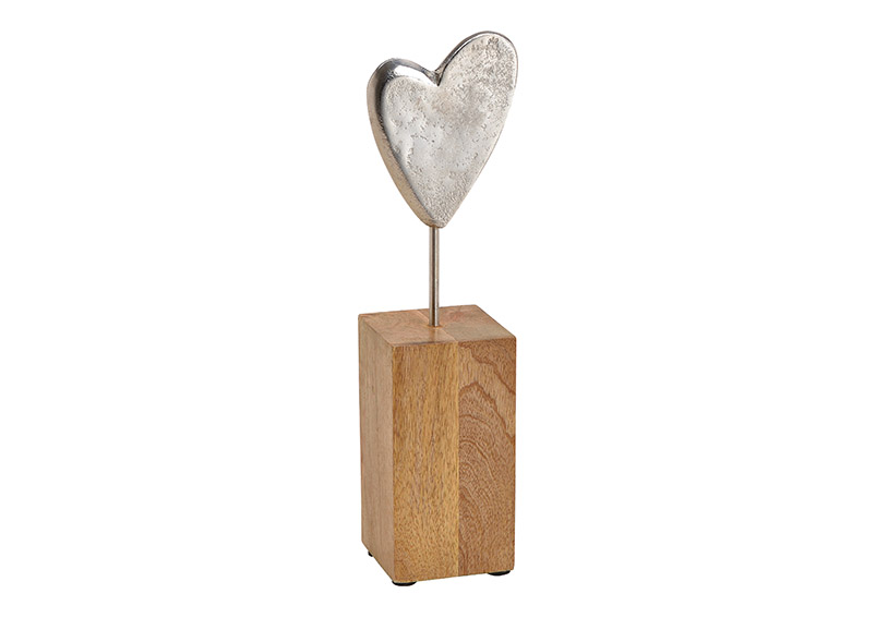 Heart on mango wood stand, metal, silver 9x33x8cm